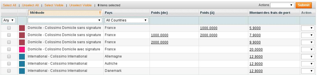Configuration des tarifs de livraison
